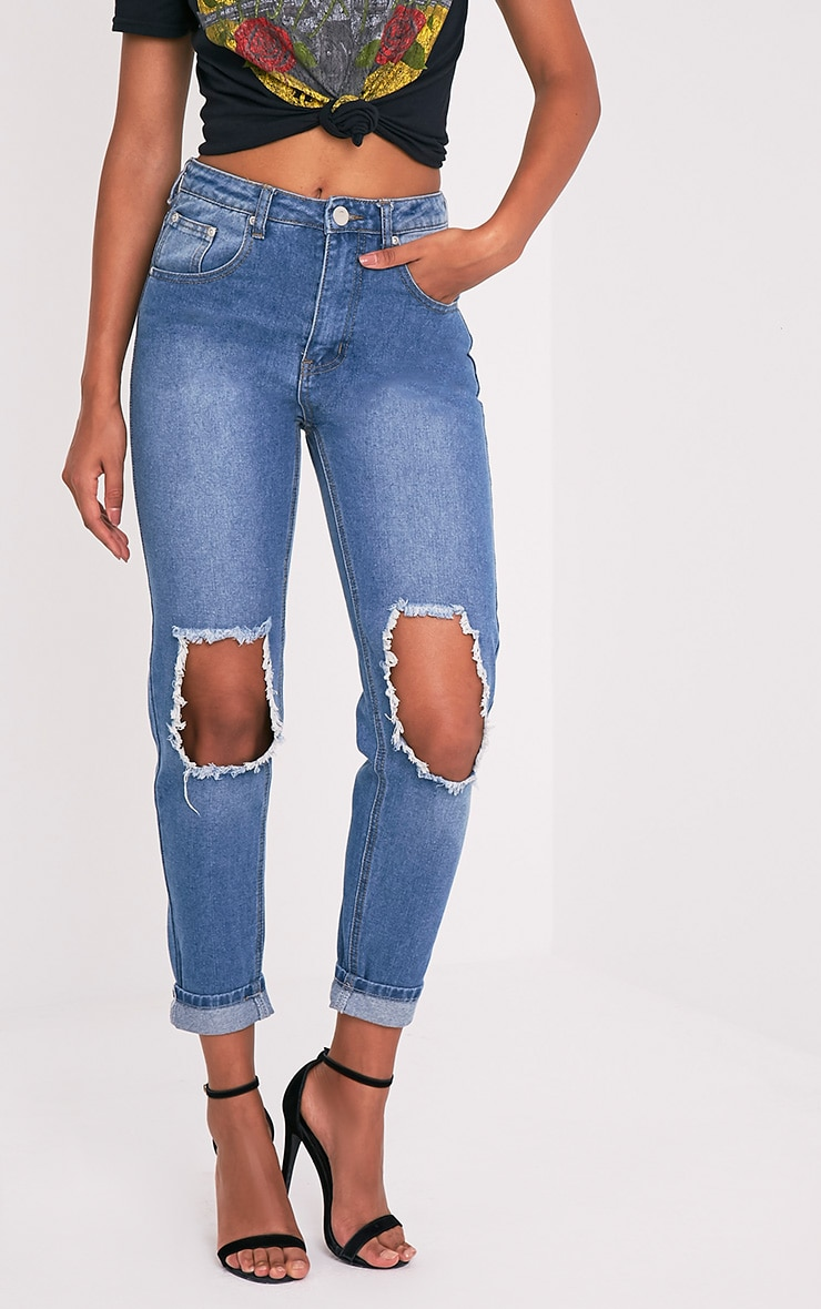 Mid Wash Open Knee Mom Jean 4