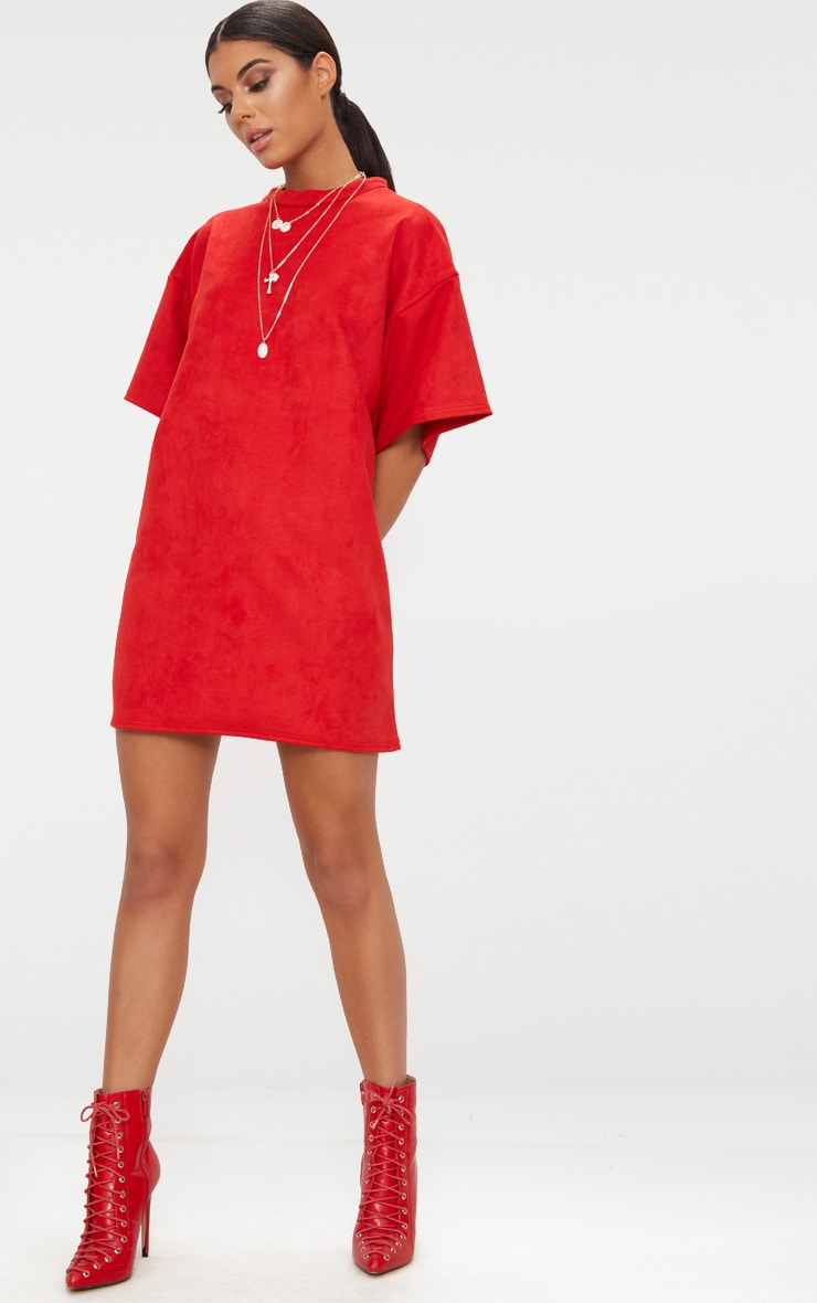 Red Faux Suede Oversized T Shirt Dress 4