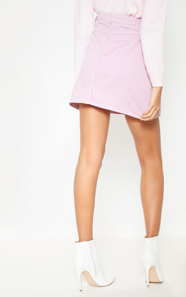 Lilac Neon Pocket Detail Denim Skirt  4