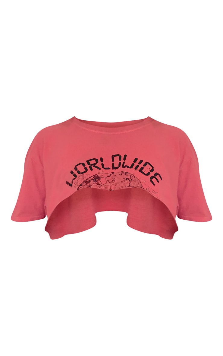 Red Worldwide Slogan Super Crop T Shirt 5