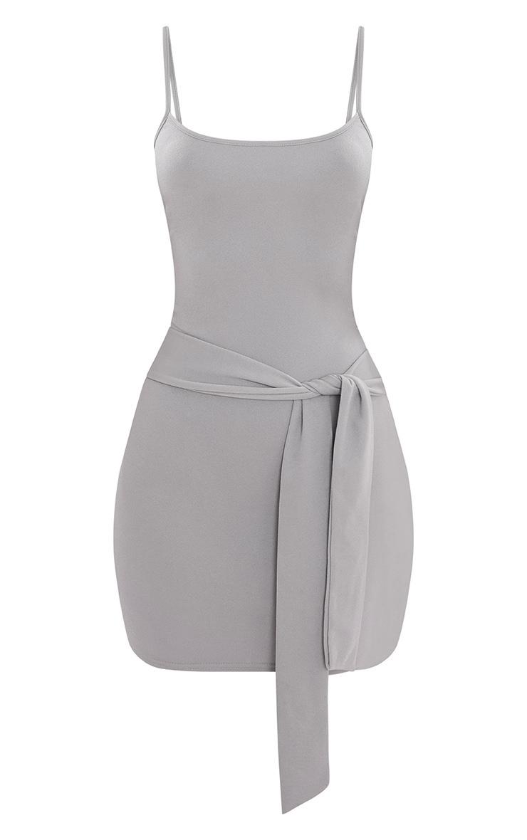 Dove Grey Crepe Straight Neck Tie Front Bodycon Dress 4