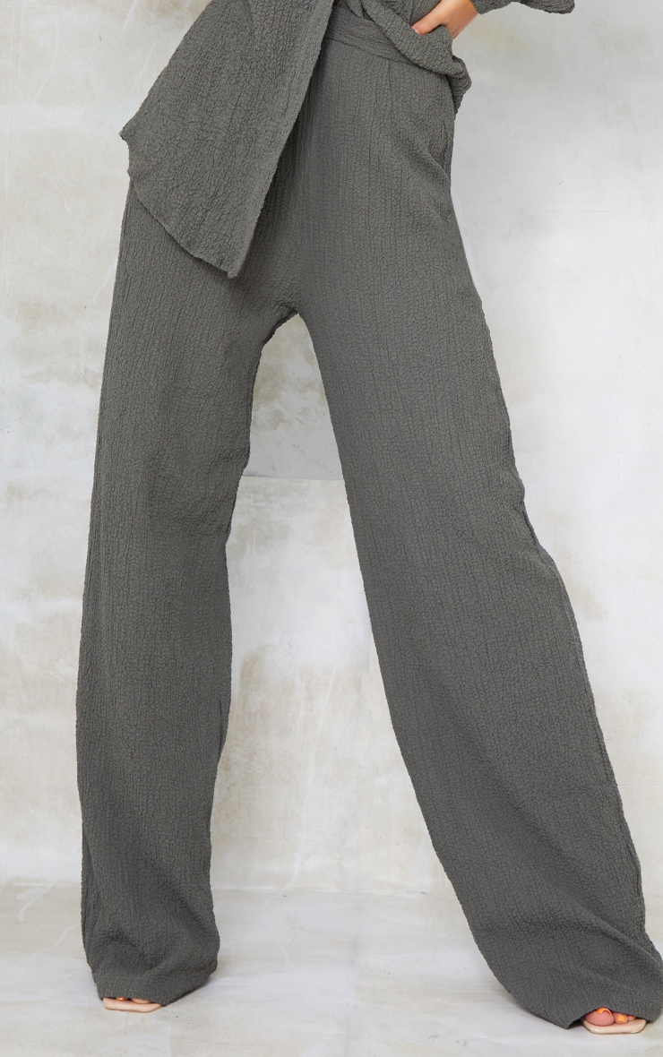 Grey Textured Crinkle Wide Leg Trousers 2