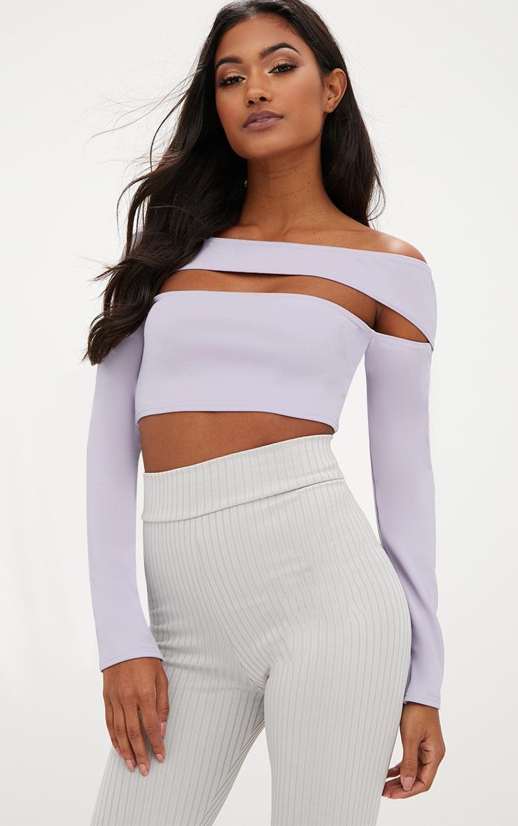 Lilac Cut Out Bardot Longsleeve Crop Top 1
