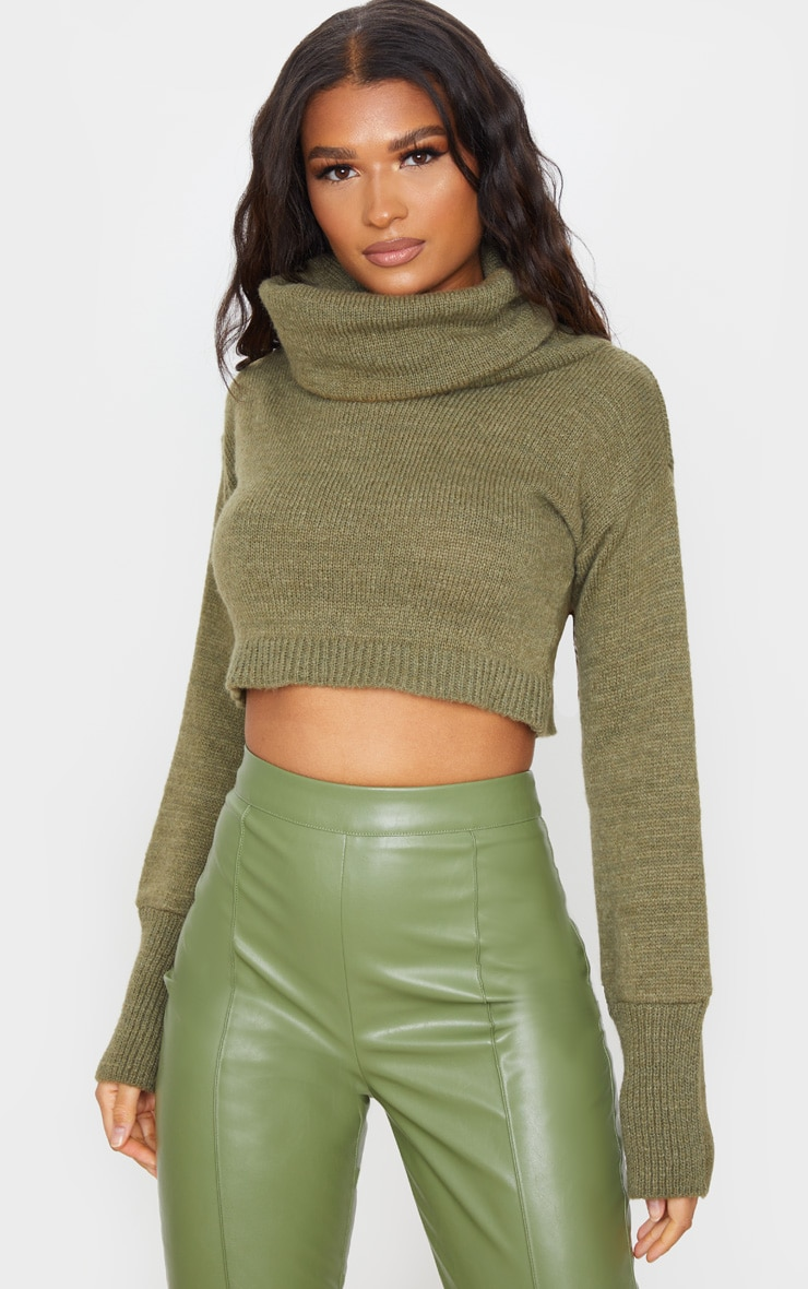 Khaki Roll Neck Cropped Sweater 1