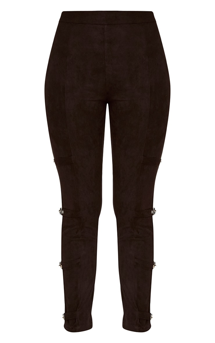 Avi Black Faux Suede Buckle Trousers  3