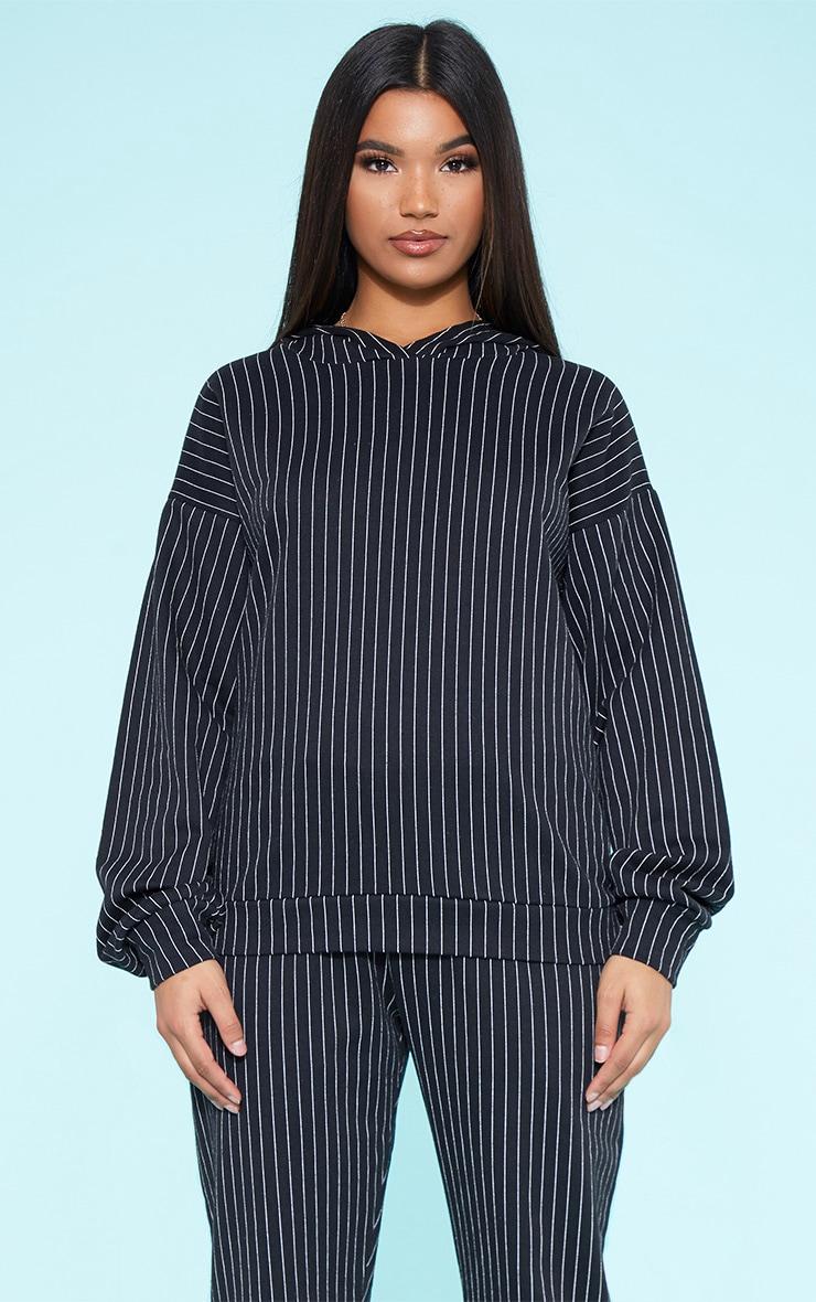 RECYCLED Black Pinstripe Oversized Hoodie 1