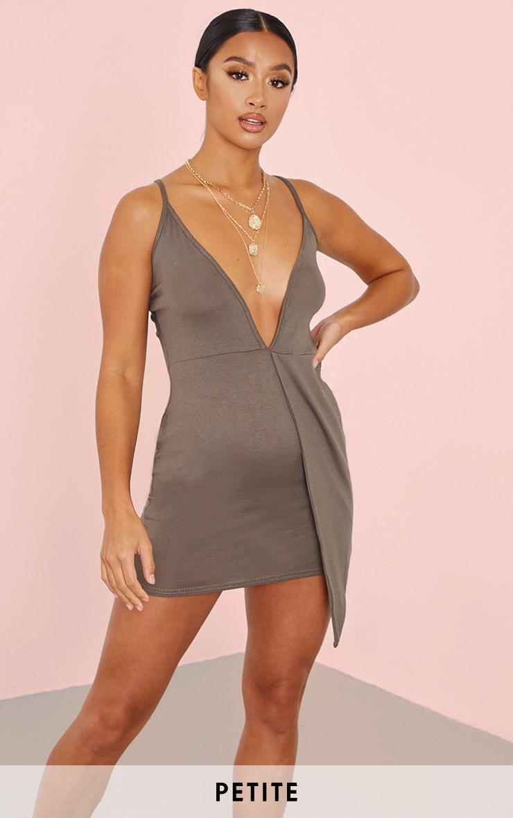 Petite Khaki Plunge Drape Detail Jersey Bodycon Dress 1