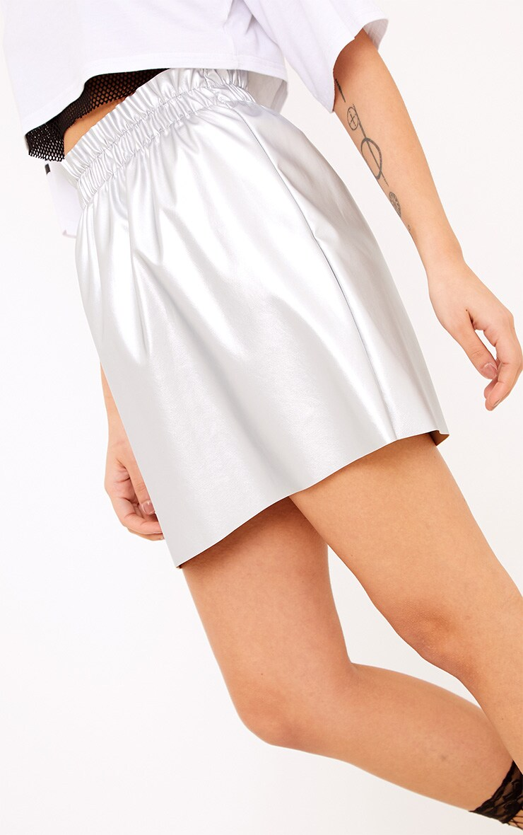 Ayesha Silver Metallic Ruched Waist Mini Skirt  6