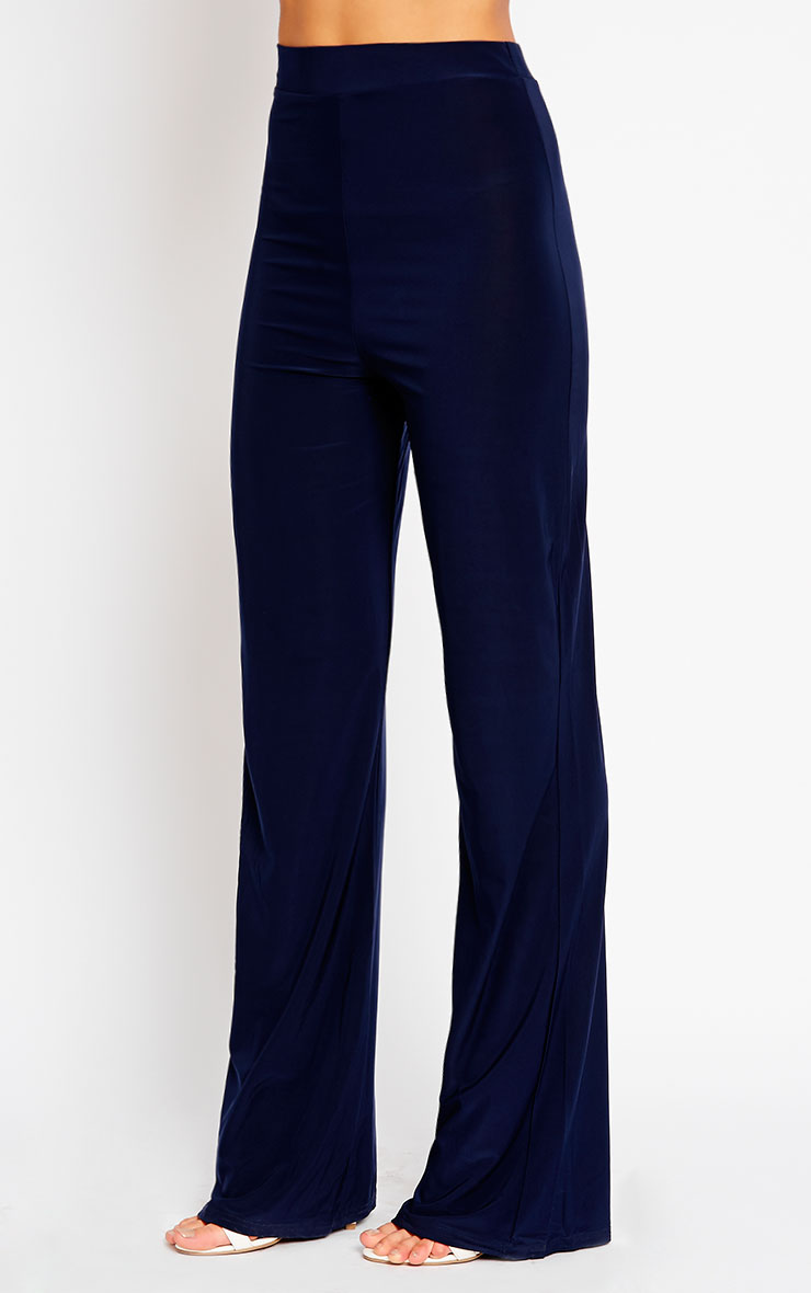 Remi Navy Soft Touch Wide Leg Trousers 3