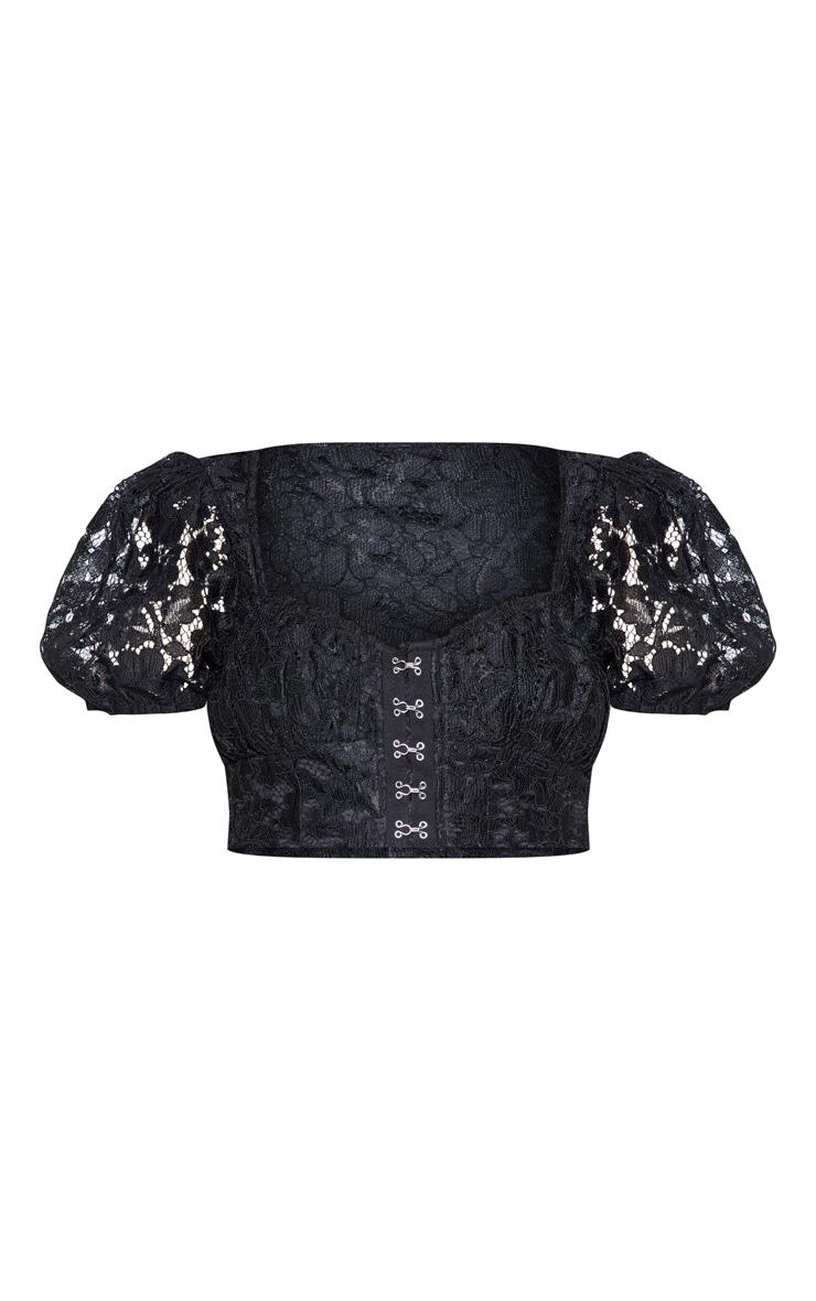 Black Lace Puff Sleeve Hook & Eye Crop Top 4