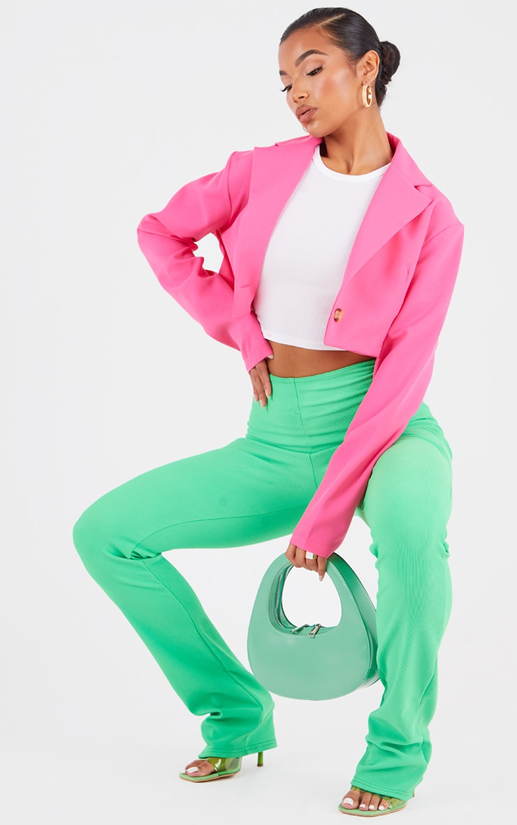 Hot Pink Woven Cropped Blazer image 1