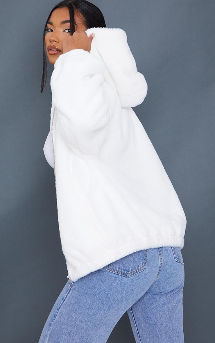 Cream Faux Fur Balloon Sleeve Hooded Jacket 2