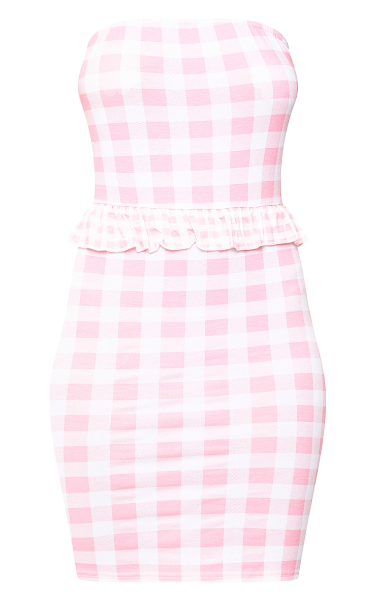 Pink Contrast Gingham Frill Bandeau Bodycon Dress 3