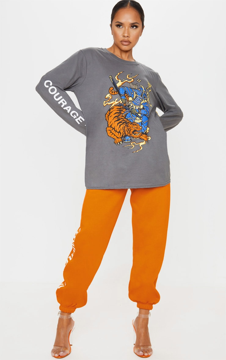 Charcoal Grey Tiger Courage Print Long Sleeve T Shirt