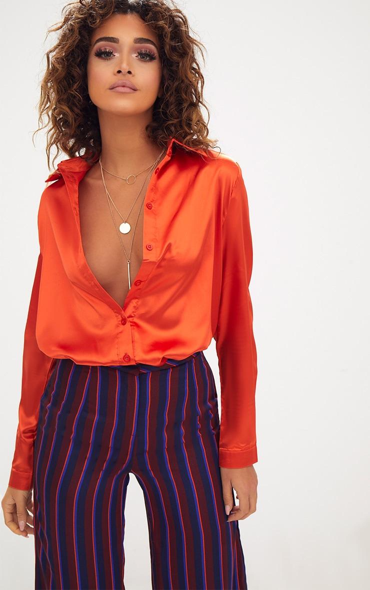 Orange Satin Button Front Shirt 2