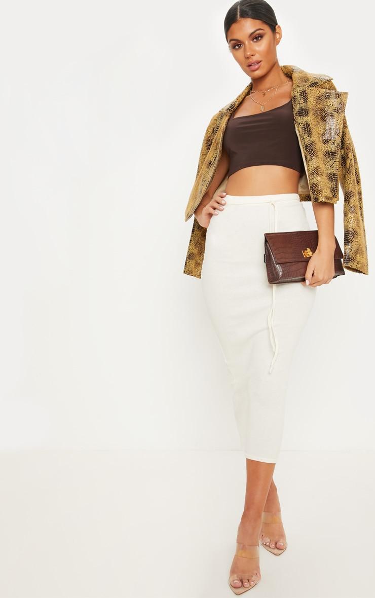Cream Tie Detail Ribbed Midi Skirt