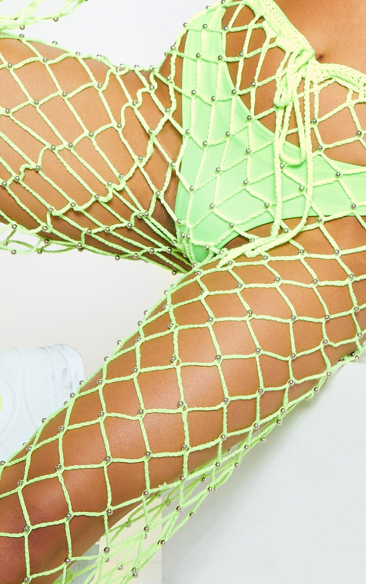 Neon Lime Crochet Beaded Knitted Trousers 6