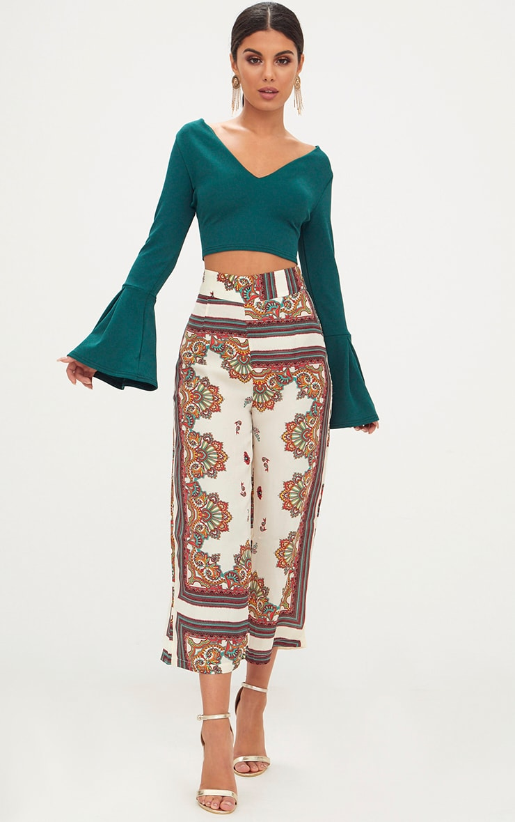 Forest Flute Sleeve Strap Back Crop Top 4