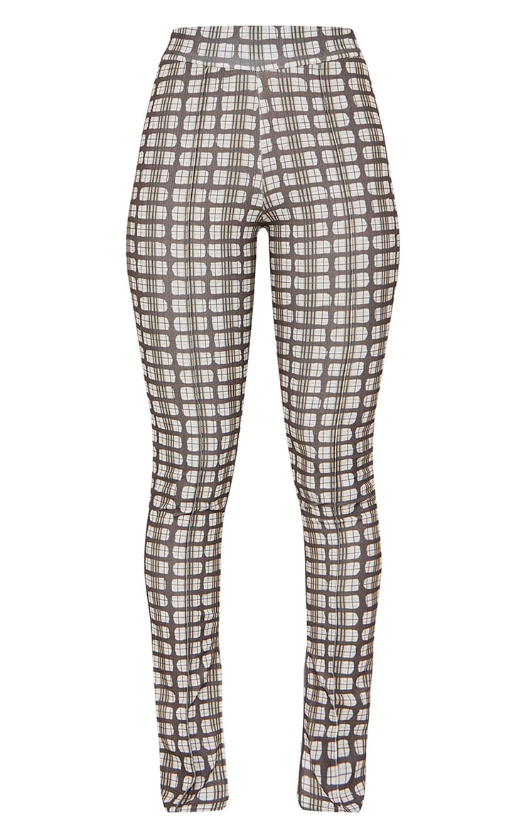 Brown Check Split Hem Detail Skinny Trousers 5