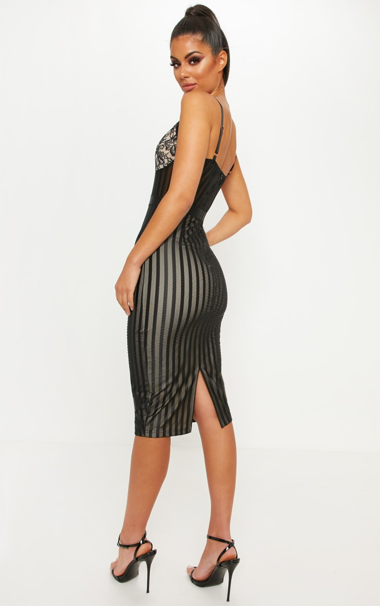 Black Lace Detail Striped Mesh Midi Dress 3