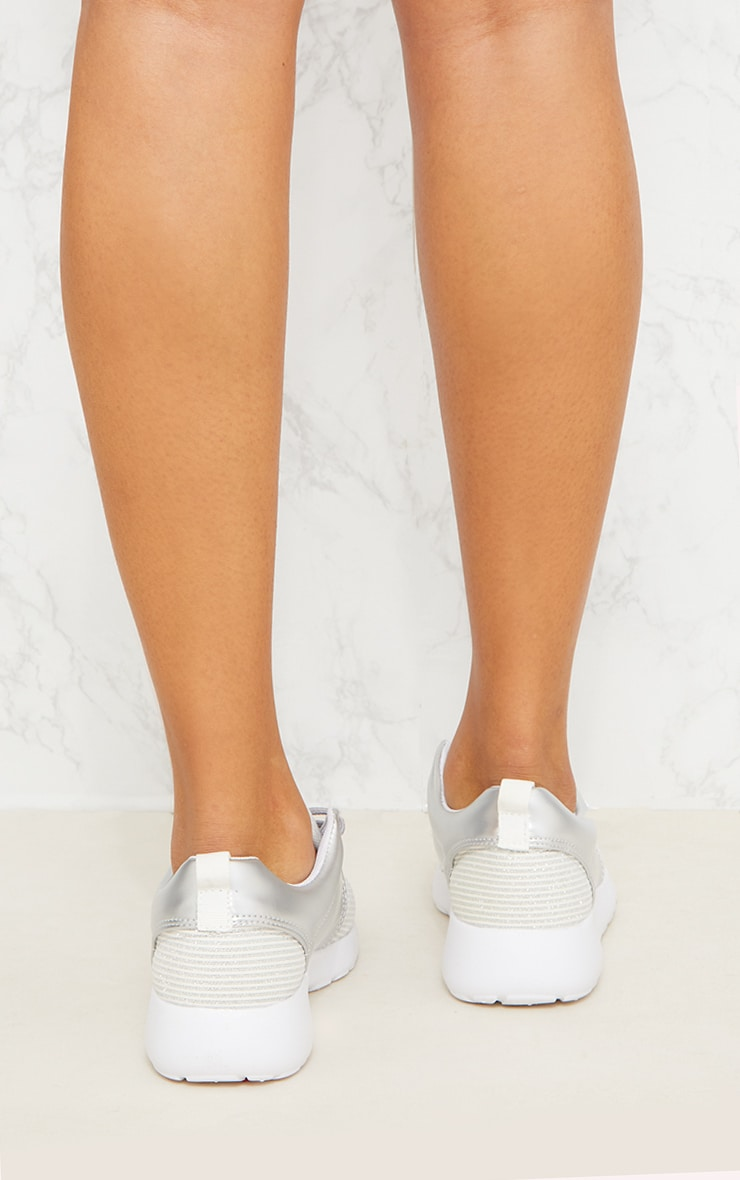 Silver Metallic Ribbed Trainers  5