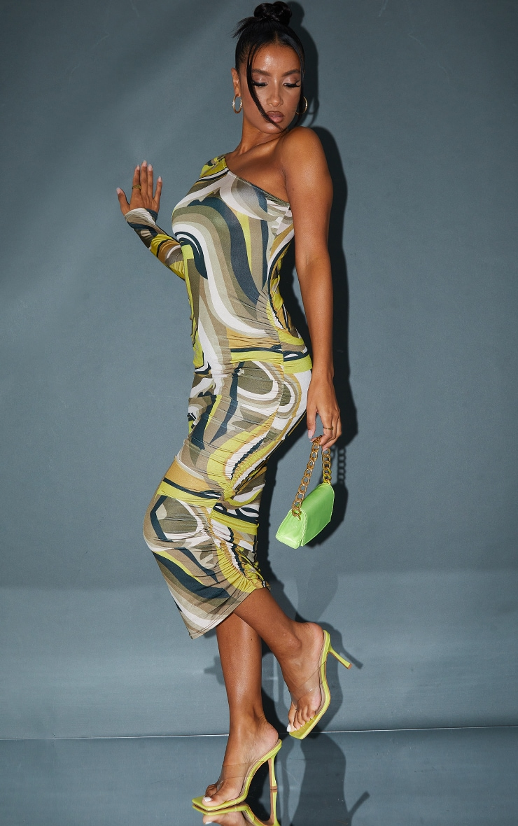 Brown Abstract Print Slinky One Shoulder Ruched Midi Dress 3