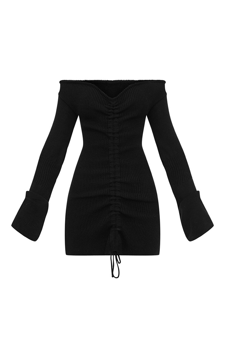 Black Ruched Knit Dress 3