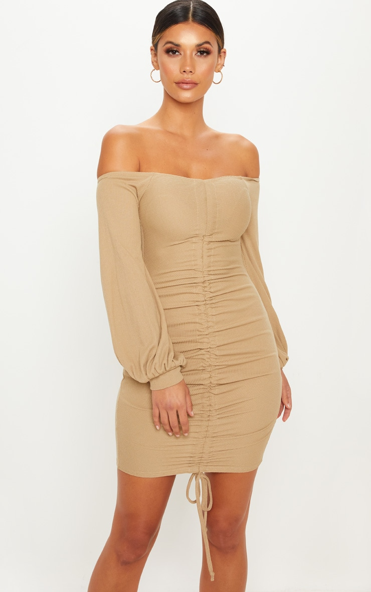 Pale Olive Ribbed Bardot Balloon Sleeve Ruched Bodycon Dress
