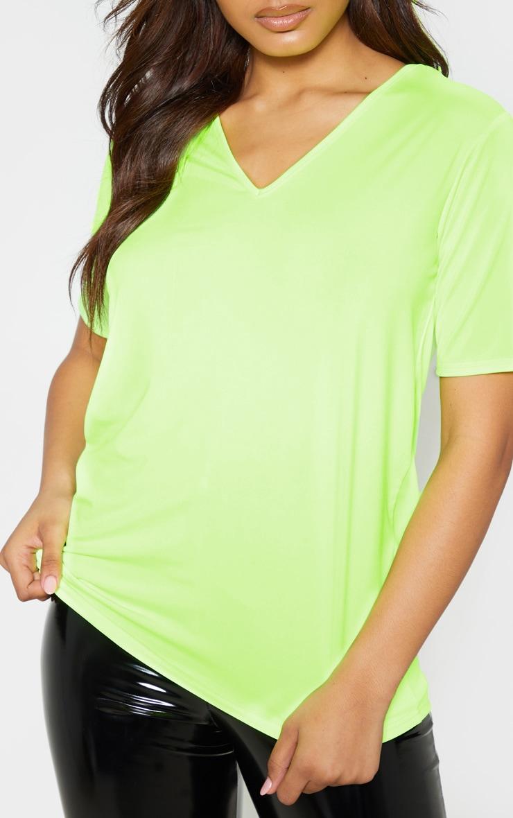 Tall Neon Lime Basic V Neck T Shirt 5