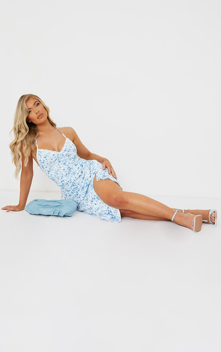 Blue Floral Print Lace Up Back Twist Detail Midi Dress 2