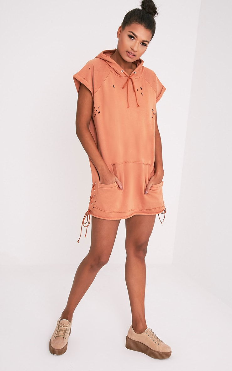 Tilly Deep Peach Distressed Lace Up Detail Sweater Dress 5