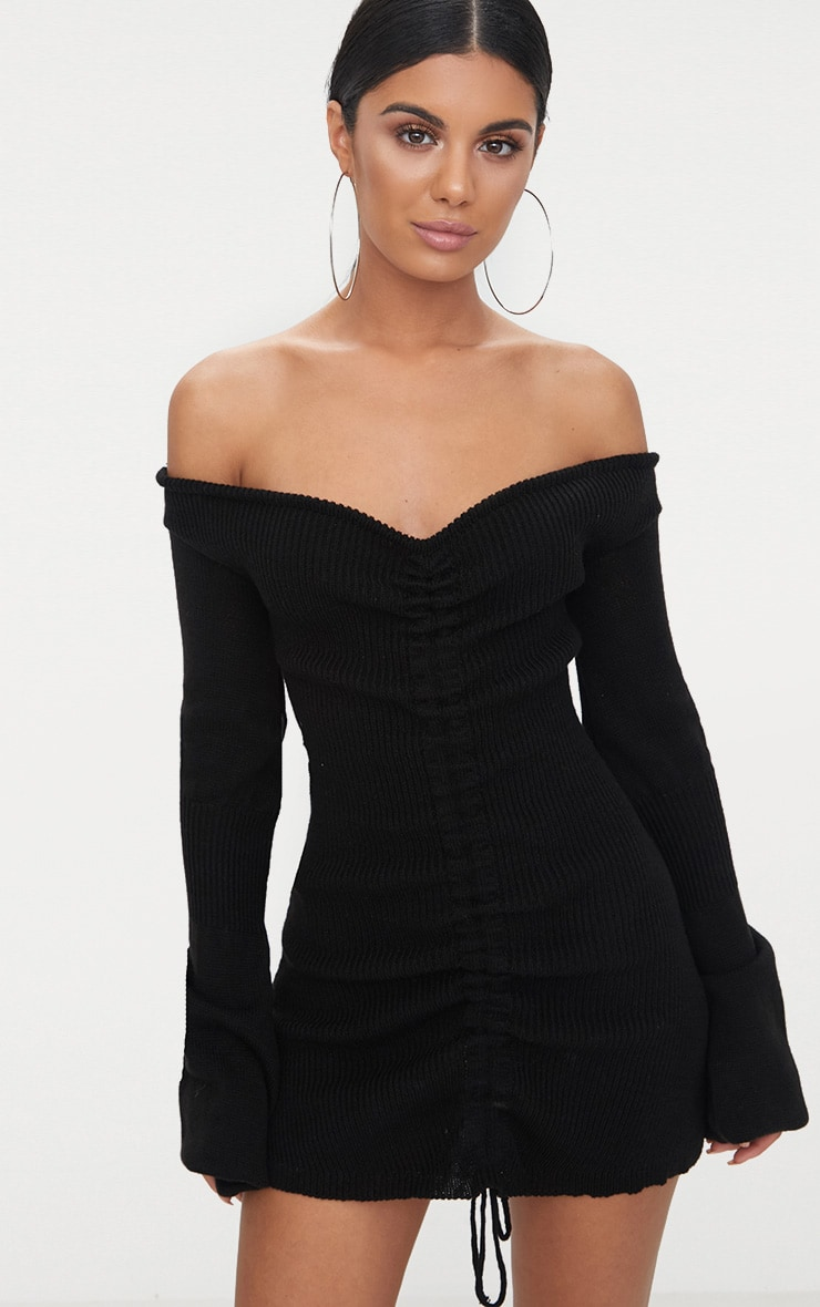 Black Ruched Knit Dress 1