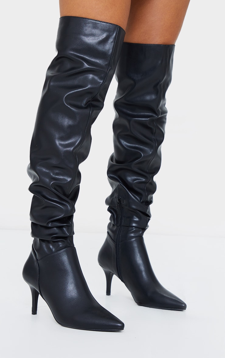 Black Matte PU Point Toe Low Heeled Over The Knee Boots 3