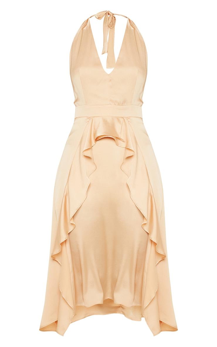 Champagne Satin Halterneck Frill Detail Skater Midi Dress 3