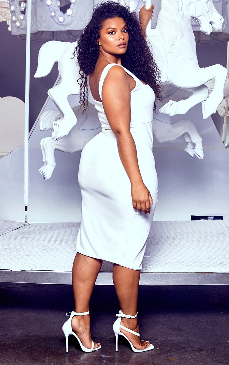 Plus White Twist Extreme Split Midi Dress 2