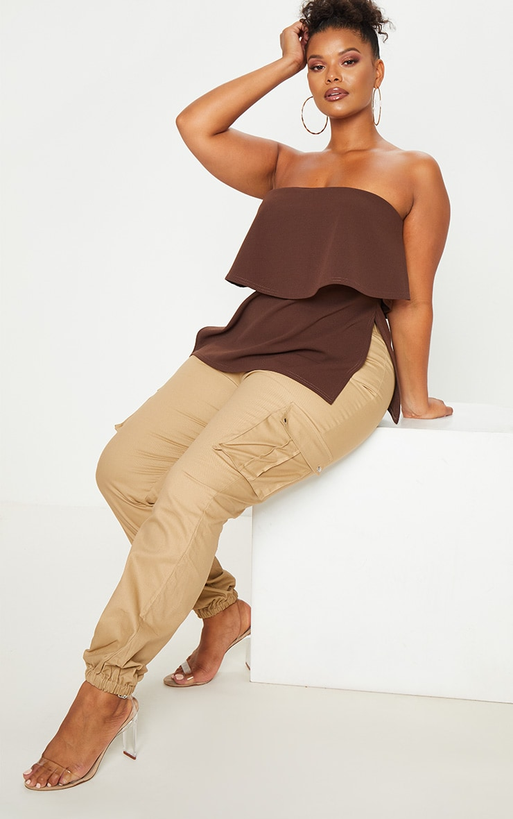 Plus Chocolate Brown Bandeau Frill Overlay Top 4