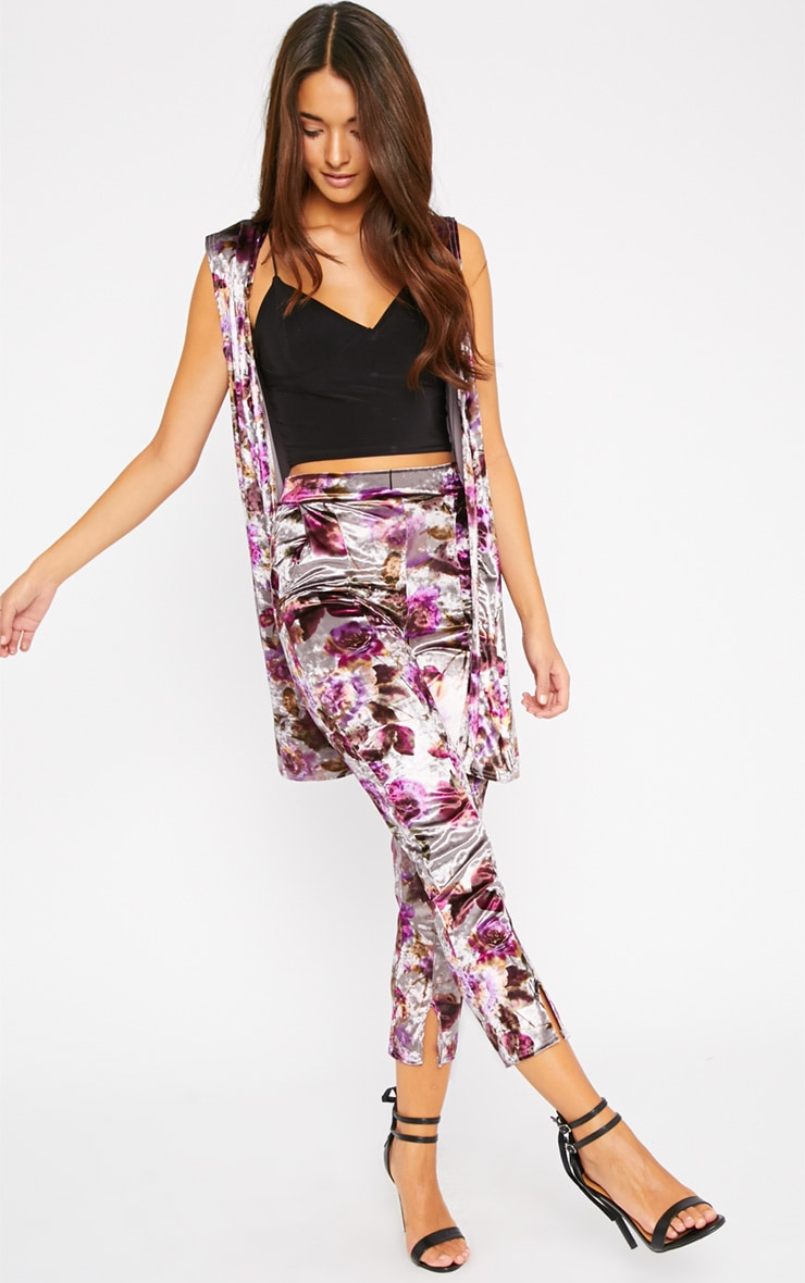 Prisa Purple & Grey Floral Print Velvet Trousers 1