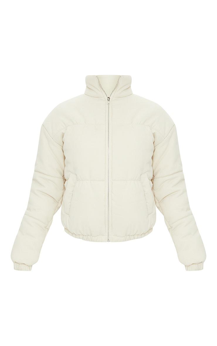 Tall Cream Cord Puffer Coat 1