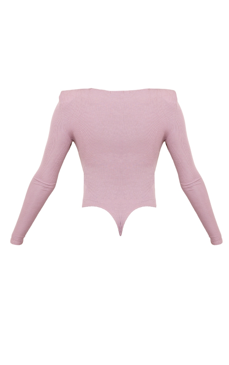 Mauve Rib Shoulder Pad Long Sleeve Bodysuit 6