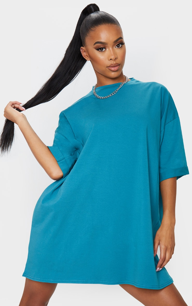 Teal Oversized Boyfriend T Shirt Dress 1