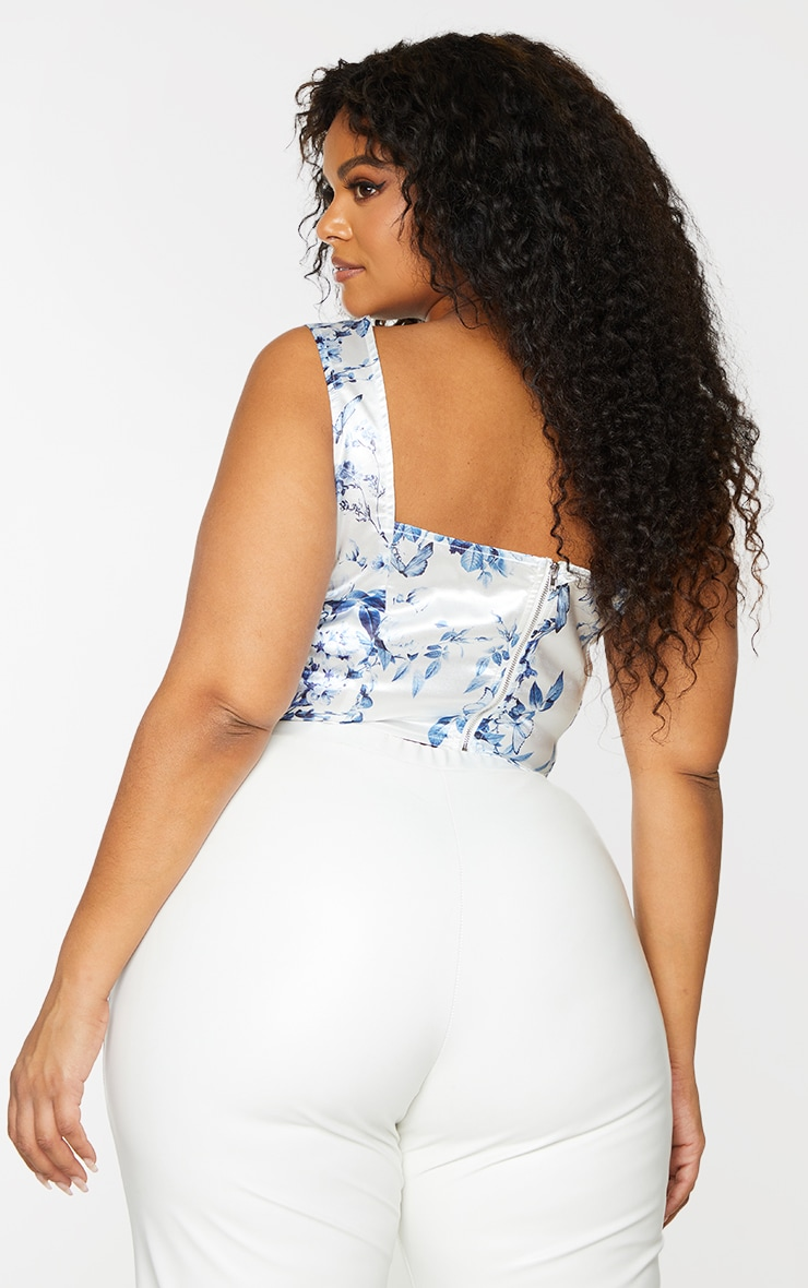 Plus White Butterfly Printed Satin Corset Ruched Detail Crop Top 2