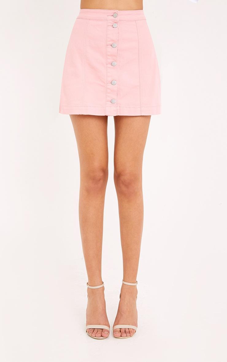 Pink Cammie Denim Mini Skirt 2