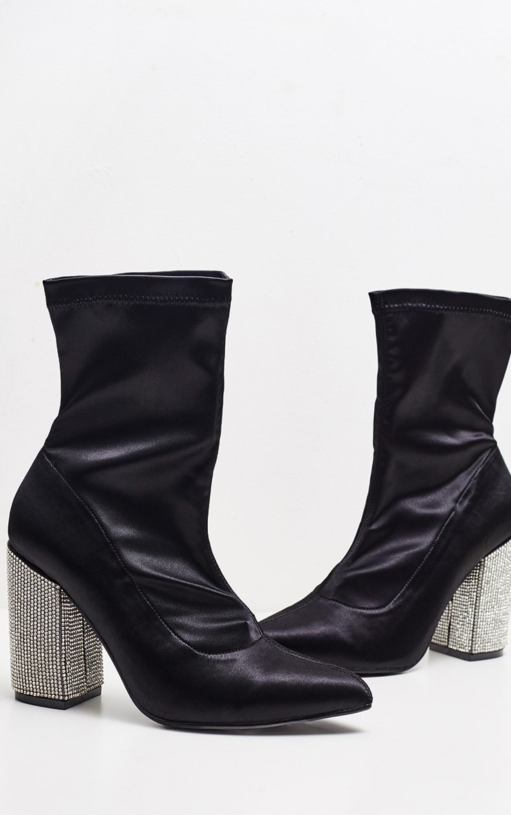 Black Lycra Diamante Heel Sock Boot 4