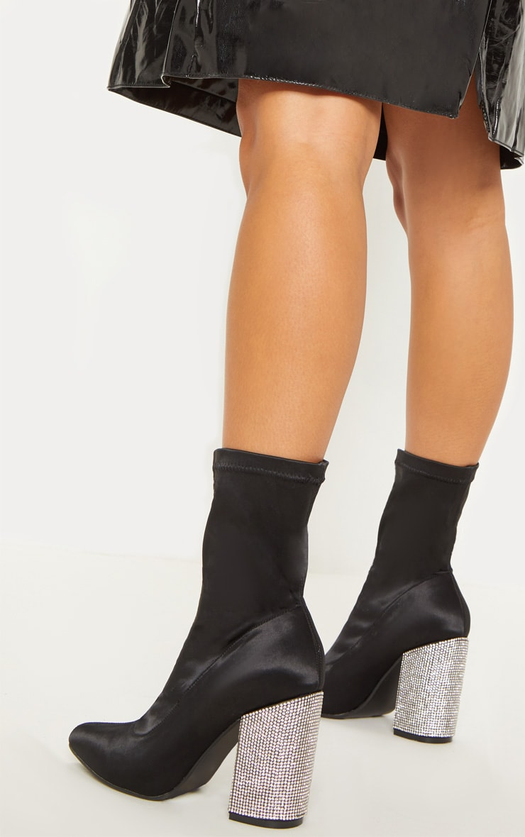 Black Lycra Diamante Heel Sock Boot 1
