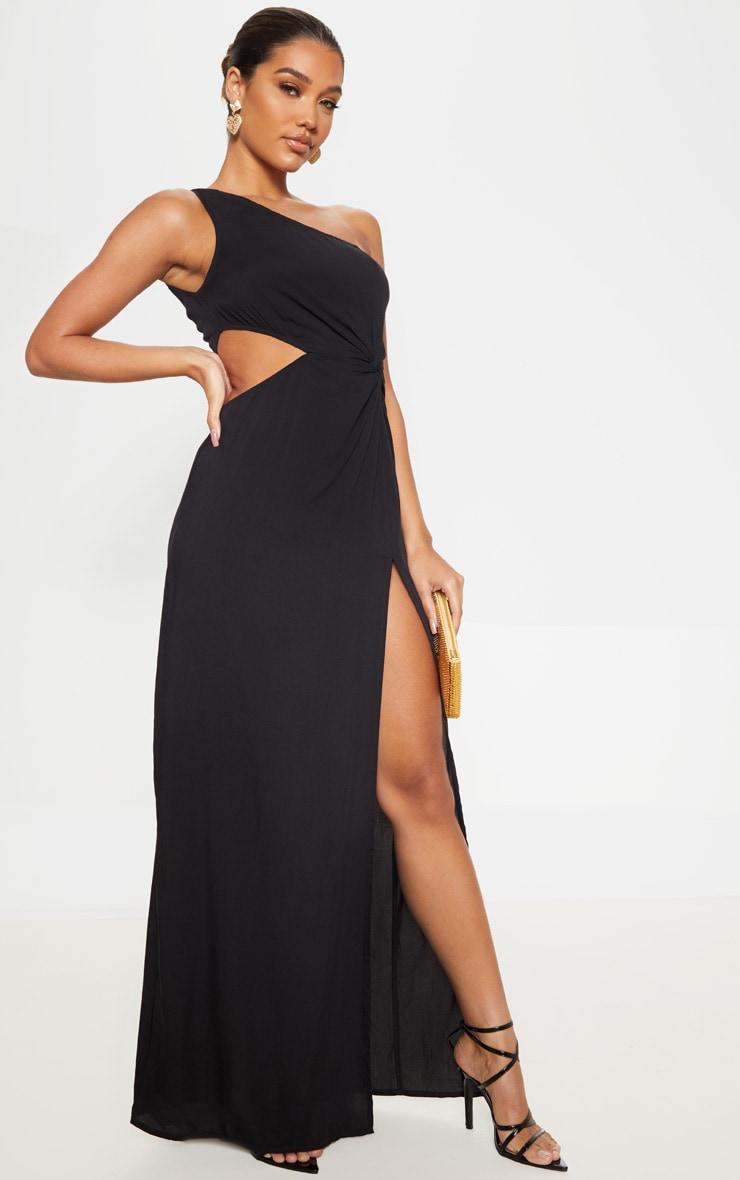 Black One Shoulder Cut Out Knot Detail Split Leg Maxi Dress 4