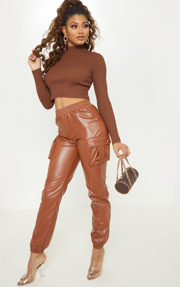 Tall Brown Fitted Crop Knit Top 4