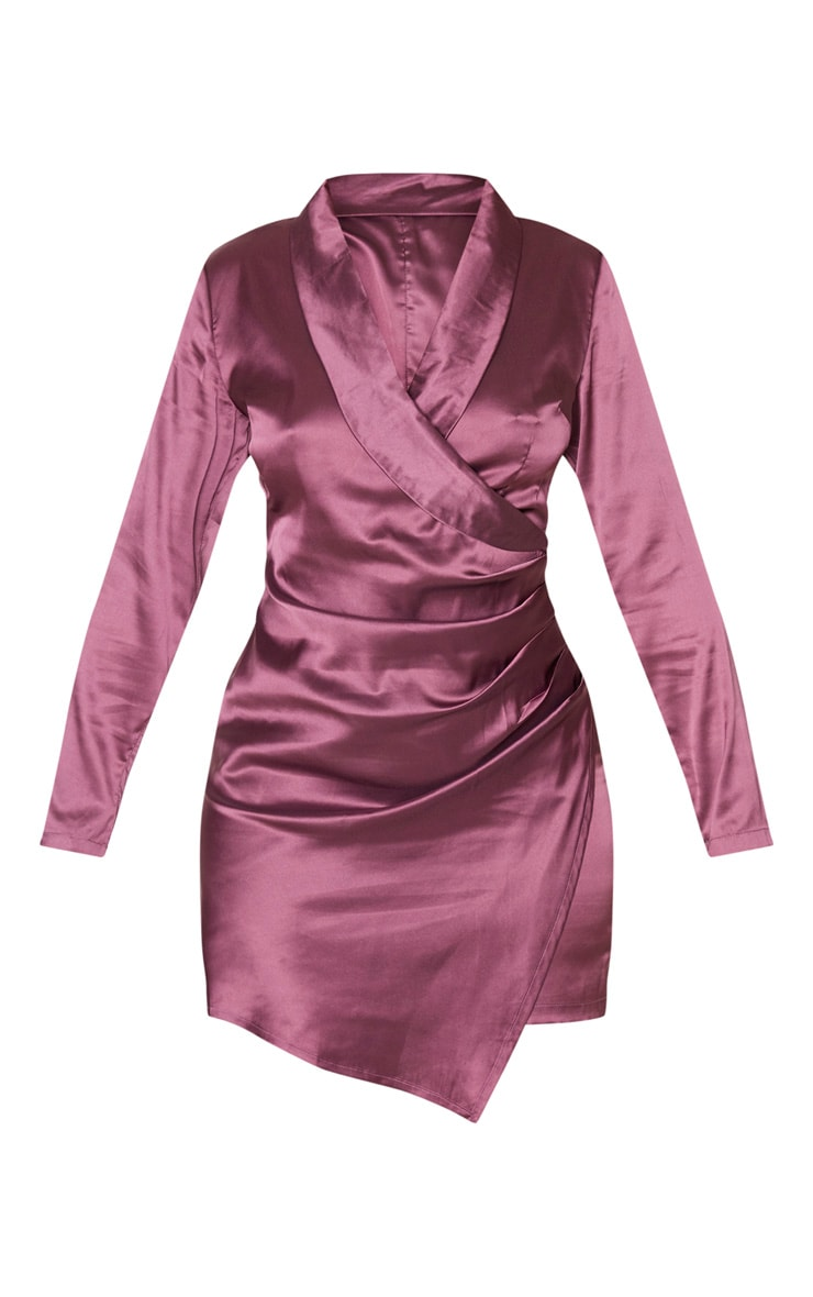 Mauve Satin Ruched Side Long Sleeve Bodycon Dress 3