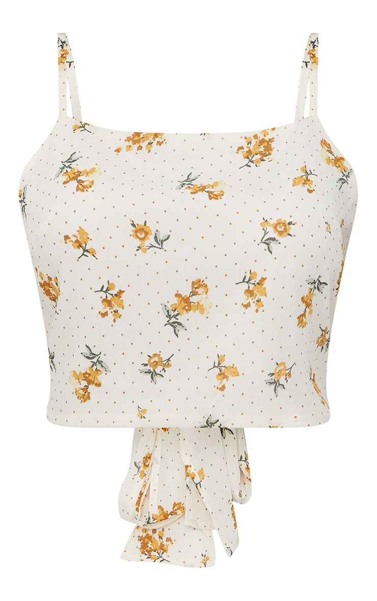 White Ditsy Floral Tie Back Crop Top  3