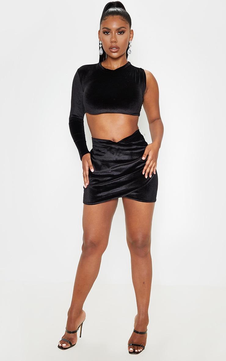 Black Velvet Wrap Over Ruched Mini Skirt 5