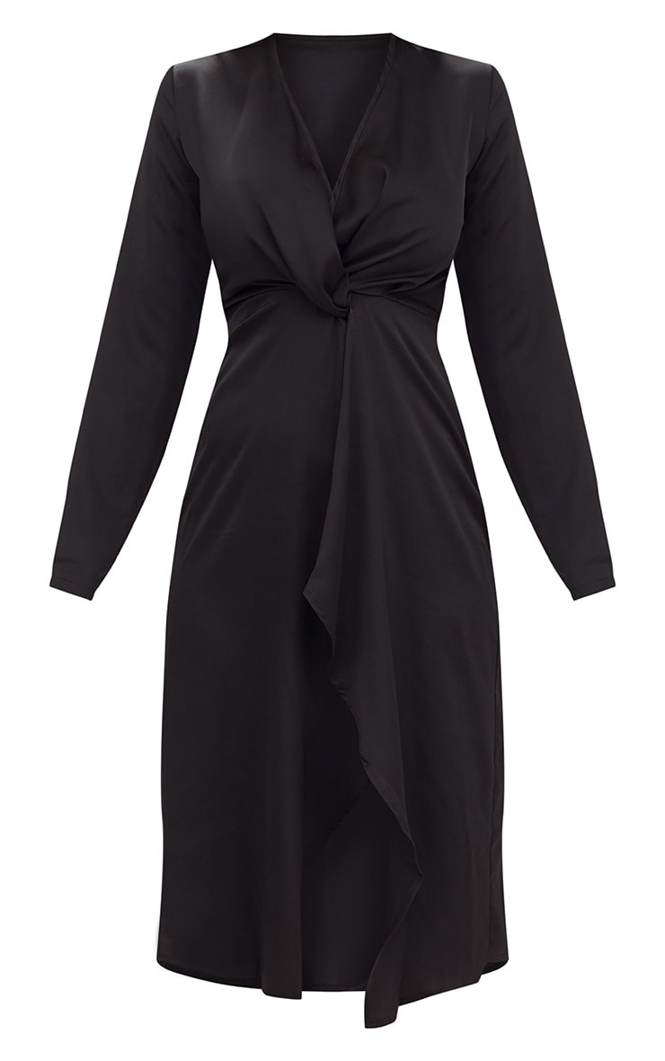 Black Satin Long Sleeve Wrap Midi Dress 3